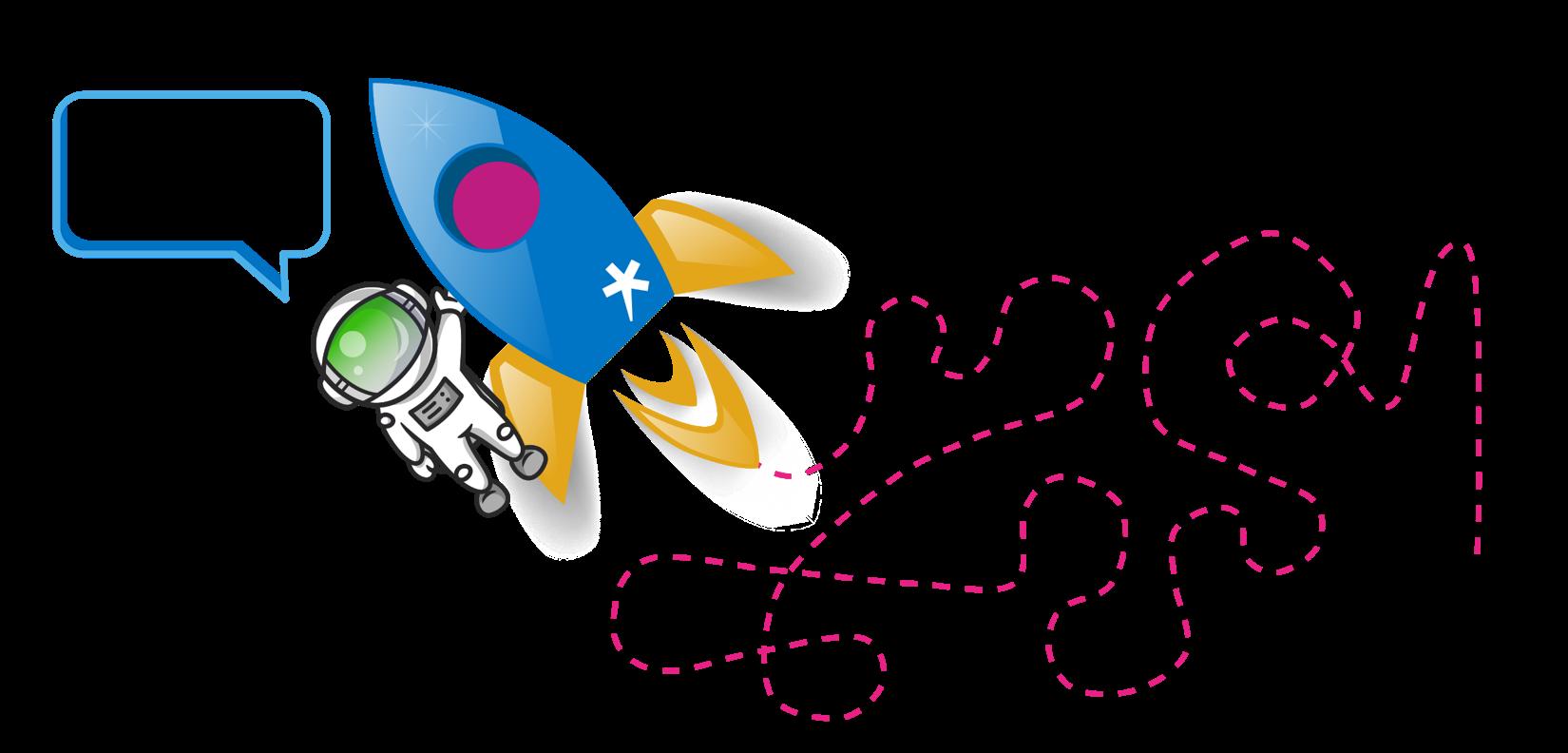 """Raketti mutkittelee ja sen mukana roikkuva astronautti huutaa: """"Mutkattomasti! Voin huonosti..."""""""