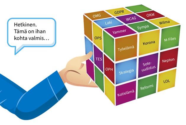 """Rubikin-kuutiossa on ruuduissa sanoja: GDPR, OMG, Laki, WCAG, OKM, Yammer, Sympa, Wilma, OPS, Työelämä, Korona, M-Files, TES, OPH, Strategia, Sote-uudistus, Nepton, Kotielämä, Reformi, LOL. Kuutiota pitelevä henkilö sanoo: """"Hetkinen. Tämä on ihan kohta valmis..."""""""