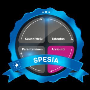 Arviointi-osio korostettuna Spesian laatuympyrässä, jonka kehä koostuu suunnittelusta, toteutuksesta, arvioinnista ja parantamisesta..