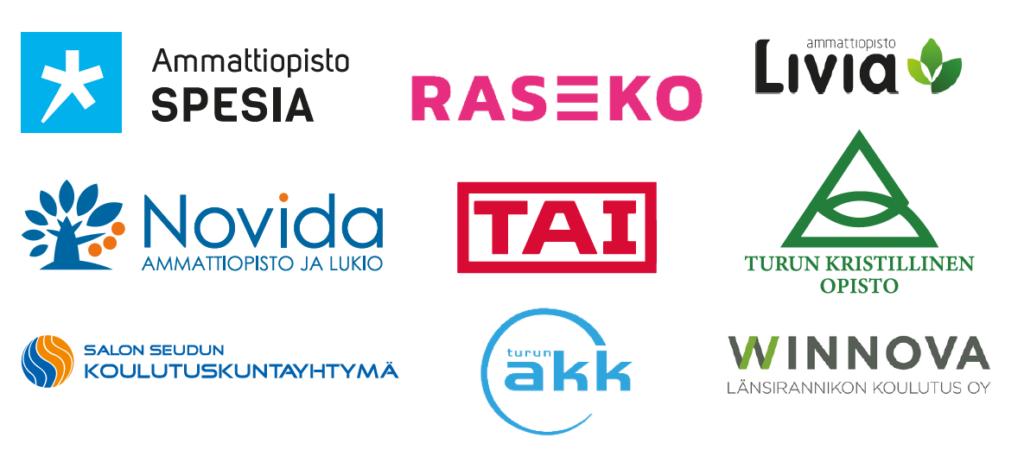 Varsinais-Suomen ammatillisten oppilaitosten logoja.