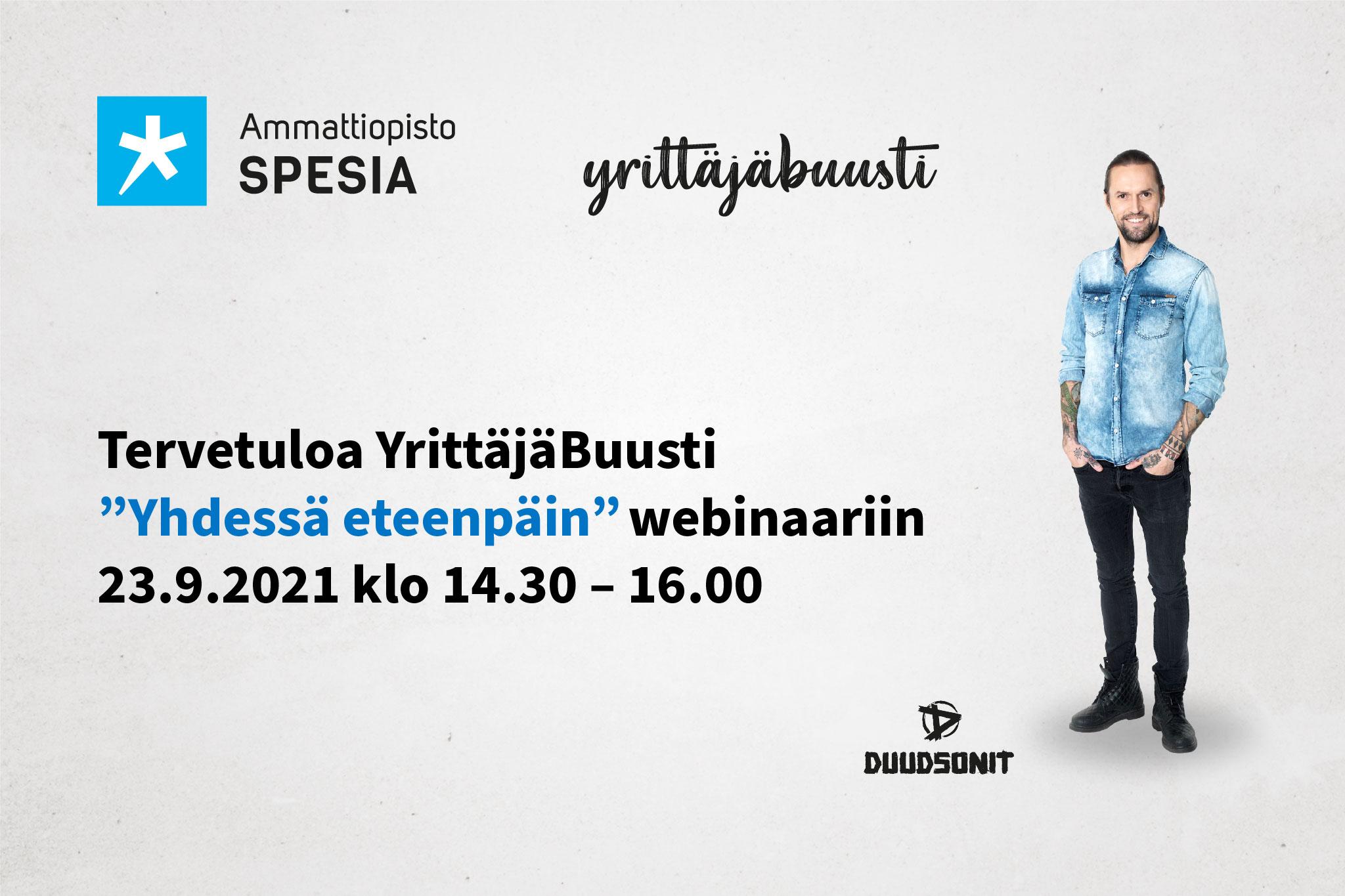 Tervetuloa YrittäjäBuusti Yhdessä eteenpäin webinaariin 23.9.2021 klo 14.30-16.00, lisäksi Duudsonien HPn valokuva